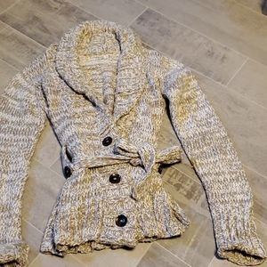 Indigenous One Weave Taupe/Ivory Chunky Cardigan